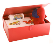 One of our beautiful boxes used as a baby gift box
