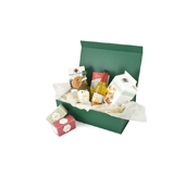 One of our beautiful boxes used as a food hamper box